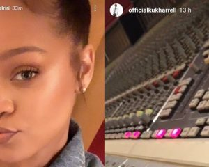 Rihanna mit Vocal-Coach Kuk Harrell im Tonstudio (November 2018)