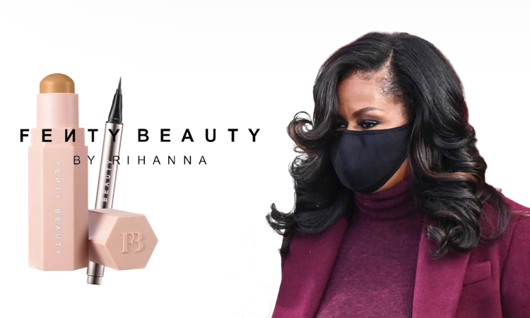 Michelle Obama wearing Rihanna's Fenty Beauty products at Joe Biden's inauguration (January 20 2021)